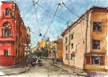 Urban sketch.  Street in the city centre. Drawing markers. Hand-drawn illustration.