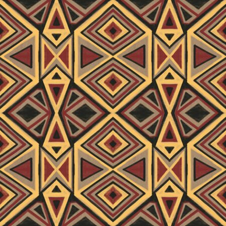 Seamless pattern with stylized ethnic pattern. Hand-drawn illustration.