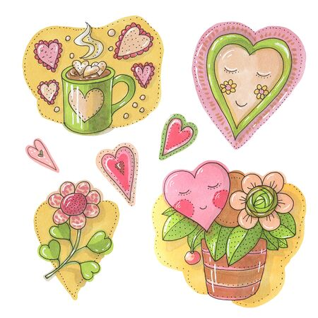 Watercolor hearts isolated on white background.  Hand-drawn illustration. Zdjęcie Seryjne