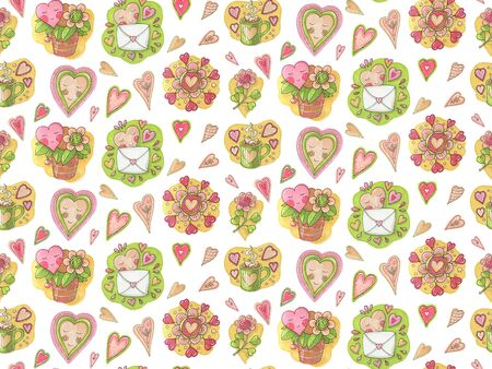 Seamless pattern with hearts in doodle style.  Hand-drawn illustration.
