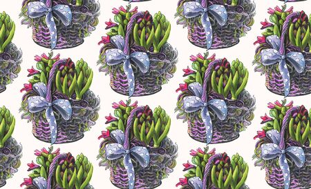 Seamless pattern with Spring flowers. Hyacinths in the basket.  Hand-drawn illustration. Imagens - 138297560