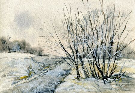 Winter landscape. A sketch with watercolor. Hand-drawn illustration.