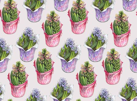 Seamless pattern with watercolor flowers. Hand-drawn illustration.  Imagens