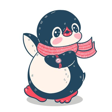 Winter illustration with funny cartoon penguin with clock. Vector.