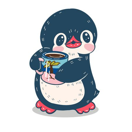 Winter illustration.  Funny cartoon penguin with a cup. Vector.