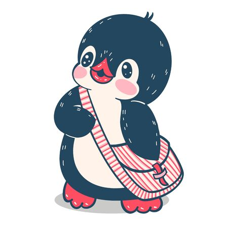 Winter illustration. Funny cartoon penguin with a bag. Vector.