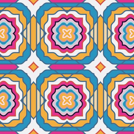 Seamless pattern with the simple geometrical drawing in retro style.  Vector illustration Banque d'images - 138469703
