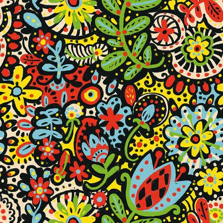 Seamless pattern with flowers. Hand-drawn illustration. A sketch drawn with pastels.
