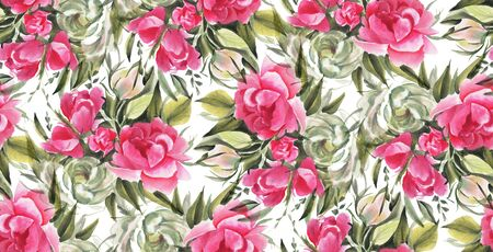 Seamless pattern with watercolor flowers. Hand-drawn illustration.  Фото со стока