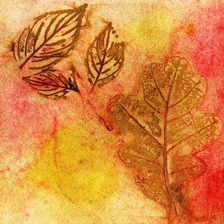 Botanical print with leaf prints on natural silk. Hand-drawn illustration. 版權商用圖片