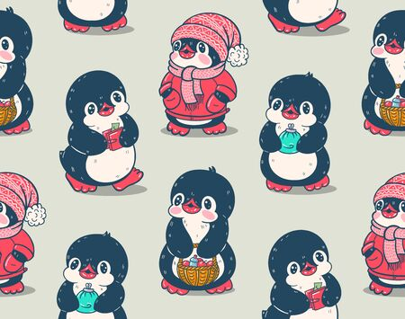 Seamless pattern with cute penguins. Hand-drawn drawing .  Vector.