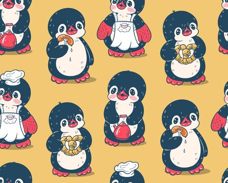 Seamless pattern with cute penguins. Hand-drawn drawing.  Vector.