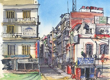City landscape. Egypt.  A sketch with watercolor. Hand-drawn illustration. Фото со стока