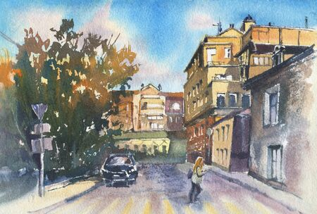 City landscape.  A sketch with watercolor. Hand-drawn illustration. Imagens