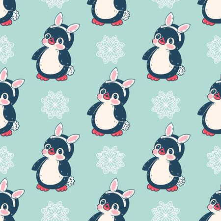 Seamless pattern with cute penguins in a Bunny costume. Hand-drawn illustration. Vector. Illustration
