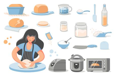 Preparation of homemade bread. A young woman kneads dough. Set of icons - ready-made baking, ingredients for the recipe, dishes and appliances for baking (Bread Machine, Multicooker, oven). Vector Illustratie