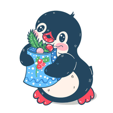 Winter illustration. Funny cartoon penguin with gifts. Vector. Çizim