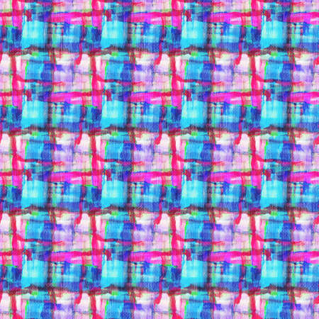 Tartan fabric texture. Seamless pattern. Drawing with acrylic paints.
