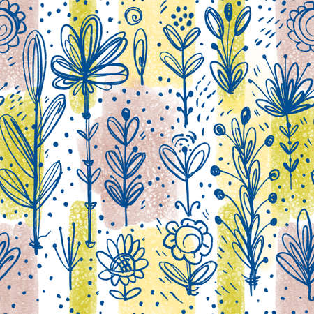 Simple floral ornament on a watercolor background. Hand-drawn illustration.