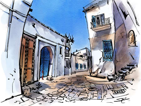 City landscape. Tunisia. Sketch ink and watercolor. Hand-drawn illustration.