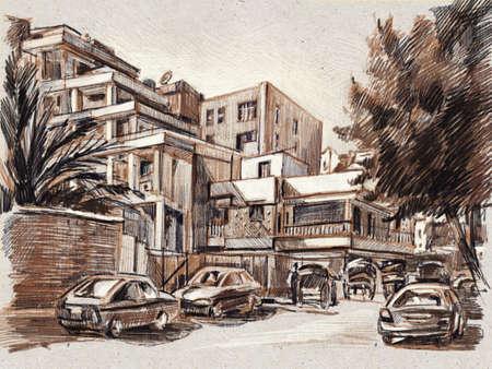 City landscape. Egypt. Sketch with colored pencils. Hand-drawn illustration. 版權商用圖片