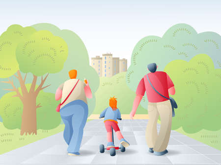 Father, mother and daughter walk in the city Park. Family vacation in the summer. Vector illustration