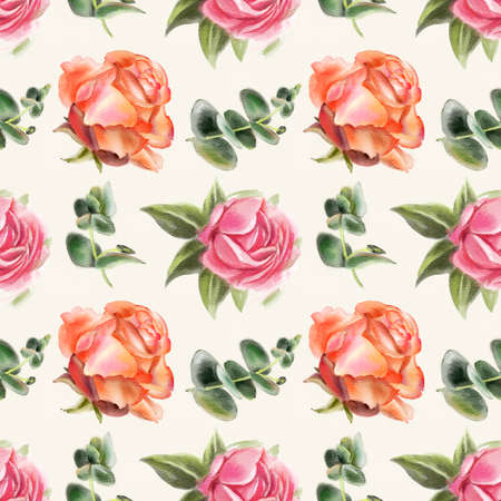Seamless pattern with watercolor roses. Hand-drawn illustration.