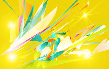 Abstract bright background with geometric shapes and light effects. Vector illustration
