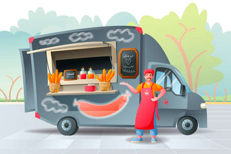 Food track, food-mobile kitchen on wheels, selling food at festivals in the city, parks, the streets and squares. Cook in an apron.
