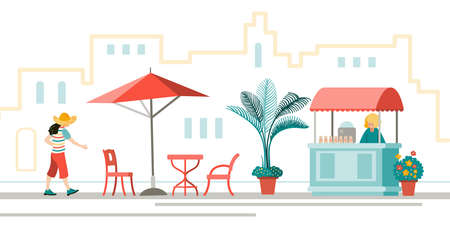 People in town. City street with ice cream stall and open cafe. An illustration in the flat style.
