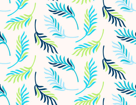 Abstract seamless pattern with leaves. Vector illustration. Иллюстрация