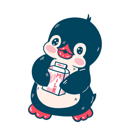 Illustration with a cute penguin isolated on a white background. Vector illustration 矢量图像