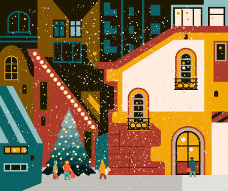 Winter city with a Christmas tree. Vector illustration