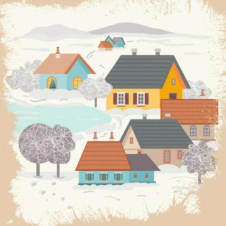 Rural landscape in winter. Vector illustration 向量圖像