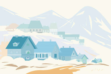 Rural landscape with mountains in winter. Vector illustration