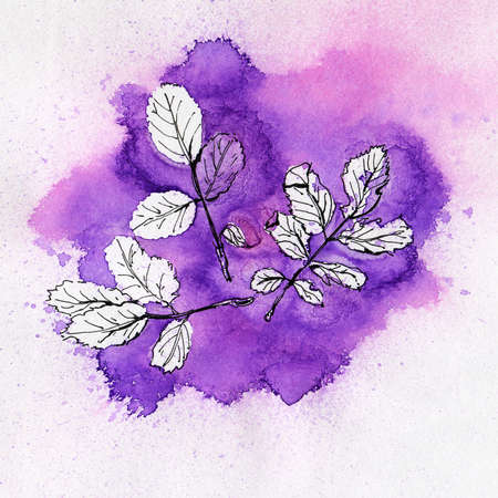 Watercolor background with leaves. Hand-drawn illustration.