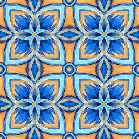 Seamless pattern with arabesques in retro style. Digital painting