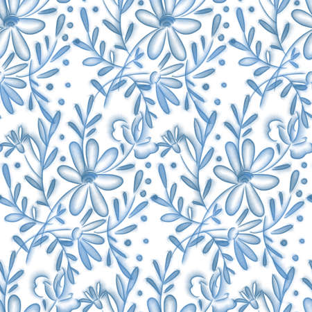 Seamless pattern with delicate blue flowers on a white background. Digital illustration.
