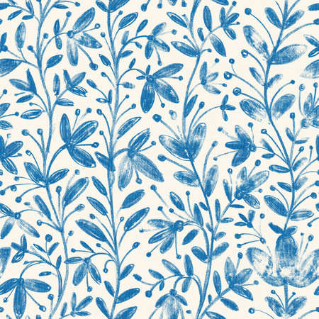 Seamless pattern with flowers on white background. Digital painting. Hand-drawn illustration.