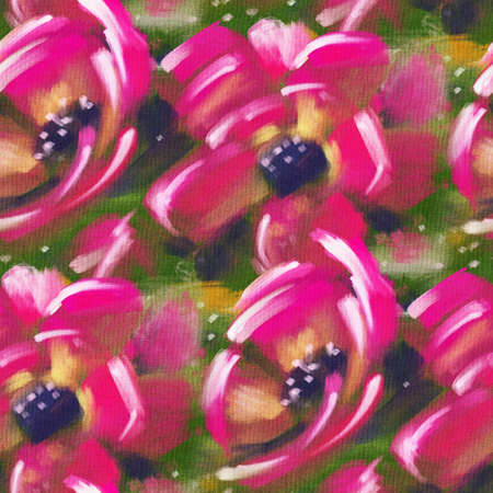 Seamless pattern with bright tropical flowers for summer fabrics. Acrylic painting .. Hand-drawn illustration.