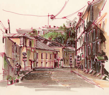 Urban sketch. Street in the city center. Drawing markers. Hand-drawn illustration.