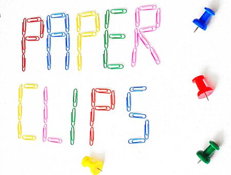 paper clips: colorful paper clips on white background