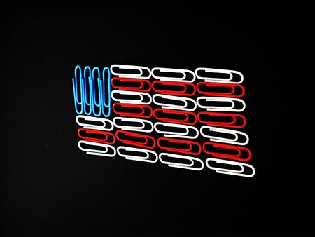 paper clips: American flag made of paper clips