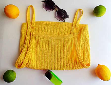 Yellow and green summer items Banco de Imagens