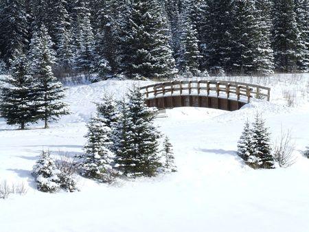 Winter Scene at the Cascading Ponds in Banff Alberta Stock Photo
