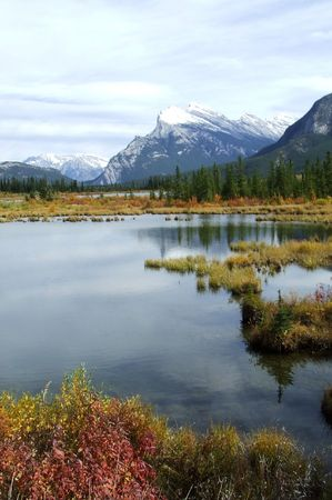 Scenic landscape shot of Vermillion Lakes in Banff Alberta, Canada Stock Photo - 2413203