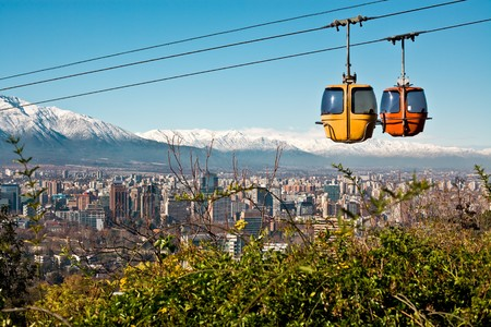 Cable car in San Cristobal hill, overlooking a panoramic view of Santiago de Chile   Stock Photo