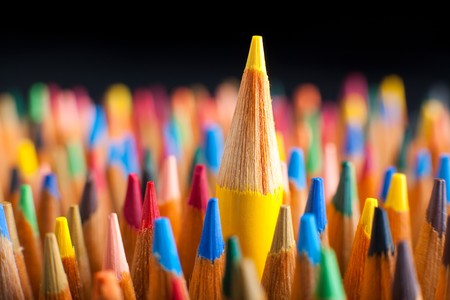 varieties: Color pencils representing the concept of Standing out from the crowd Stock Photo
