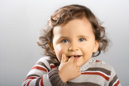 primer plano cara: Cara de ni�o peque�o close up. 18 meses de edad.