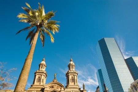 Plaza de Armas (main square) with the Metropolitan Cathedral, Santiago, Chile, South America